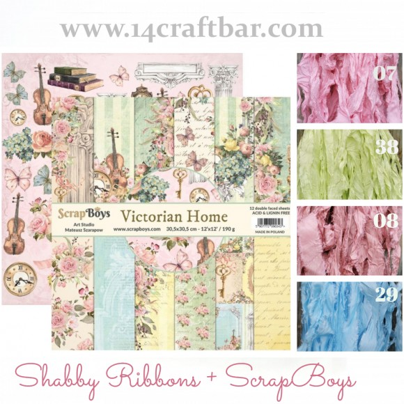 Shabby Ribbon Set with ScrapBoys - VICTORIAN HOME