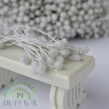 Micro-beads stamen 5 mm-WHITE