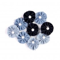 Denim Flowers - ROSETTES 9pcs