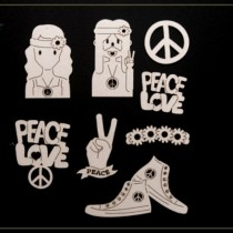 Chipboard - Peace & Love 9pcs