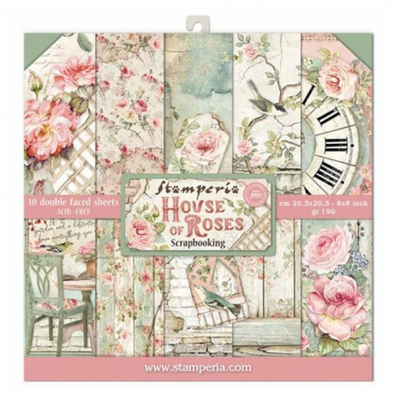 Stamperia Scrapbooking Paper -  House of Roses 8x8