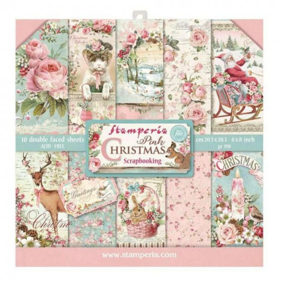 Stamperia Scrapbooking Paper -  Pink Christmas 8x8
