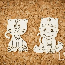 Chipboard -  Baby with cat