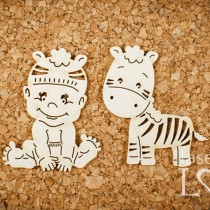 Chipboard -  Baby with zebra