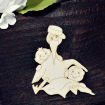 Chipboard - Stork with twins