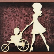Chipboard - Mom with stroller