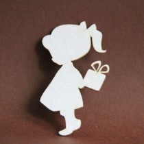 Chipboard - Girl with gift box