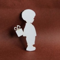 Chipboard - Boy with gift box