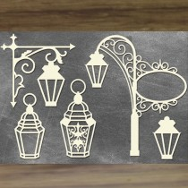 Chipboard 3D - Set of lanterns