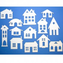 Chipboard - Houses 13pcs