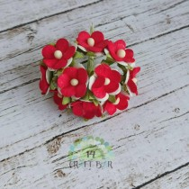Mini paper flowers - RED WHITE