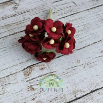 Mini paper flowers - BURGUNDY