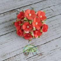 Mini paper flowers - CORAL...