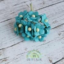 Mini paper flowers - AZURE