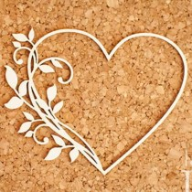 Chipboard - Heart with twig...