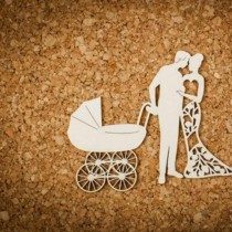 Chipboard - Couple with pram