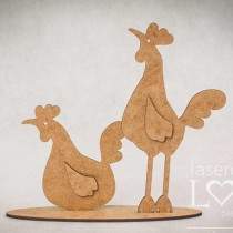 MDF - Hen and rooster on a...