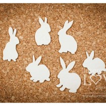 Chipboard - Rabbits 6pcs