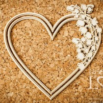 Chipboard - Heart with lily...