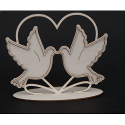 Chipboard -Wedding Doves in the heart  (3D)