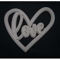 Chipboard -  layered heart with the word LOVE (2D)