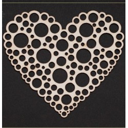 Chipboard - Big heart with  circles inside