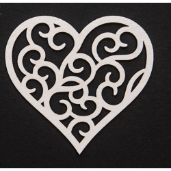 Chipboard - Medium heart with ornaments inside
