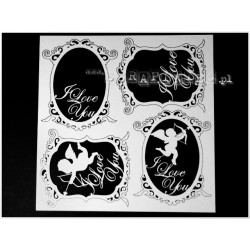 Chipboard - decorative frames I LOVE YOU/4pcs