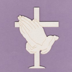 Chipboard - cross and prayer hands