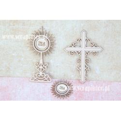 Chipboard - Set A: Cross / Monstrance / Ornamental Host