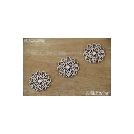 Chipboard- Doily Lace - 3 Small rosettes