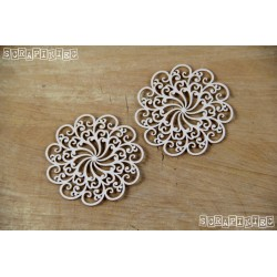 Chipboard- Doily Lace - 2 Medium rosettes