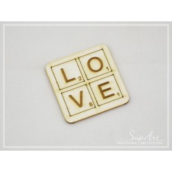 "Chipboard -Inscription ""love"" scrabble"