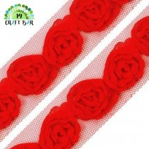 Lace Trim Roses - RED