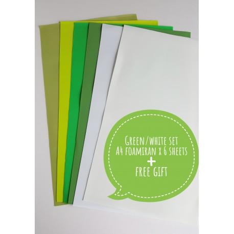 Foamiran A4 Set - Green/White