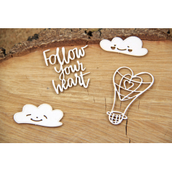 Chipboard - Clouded hearts - Baloon ,Follow your heart