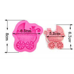 Silicone Mold - Pram with Teddy Bear