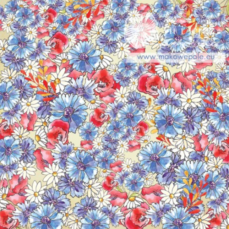 Scrapbooking Paper - Poppies and Cornflowers (Single Page)