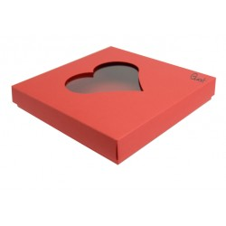 Box 15X15 with HEART window - RED