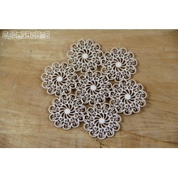Chipboard- Doily Lace - 7 Small rosettes