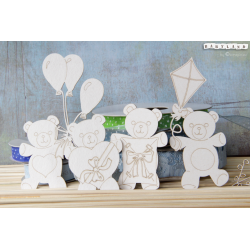 Chipboard -Teddy Bears BIG set/4pcs