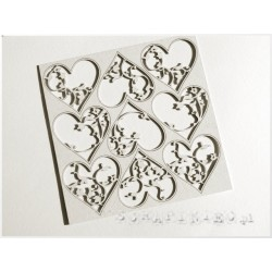 Chipboard -Floral Hearts /9pcs