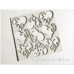 Chipboard -Floral Hearts /9pcs