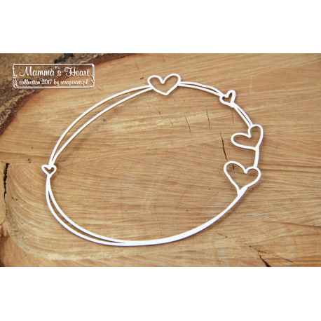Chipboard - Big oval frame with hearts