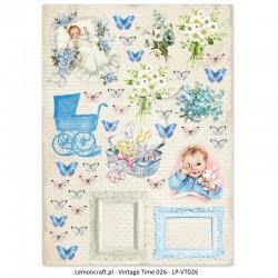Scrapbooking Paper- Die Cut A4 Sheet Lullaby Boy