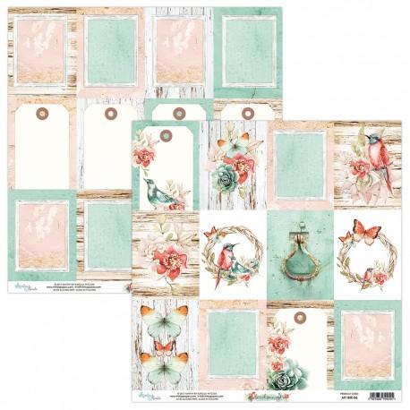 Scrapbooking Paper- Die Cut Sheet -Birdsong 06