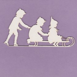 Chipboard - Christmas - Children on a Sleigh