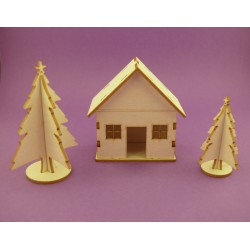 Chipboard - Christmas mini house and two Christmas Trees - 3D