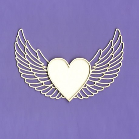 Chipboard Heart With Wings