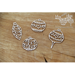 Chipboard - Mon MERRY cheri - baubles /4pcs